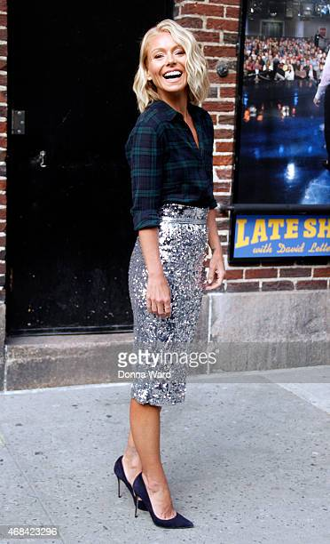 Kelly Ripa leaves the 'Late Show with David Letterman' at Ed Sullivan Theater on April 2 2015 in New York City