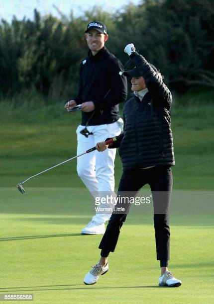 Kelly Rohrbach Actress celebrates during day three of the 2017 Alfred Dunhill Championship at Kingsbarns on October 7 2017 in St Andrews Scotland