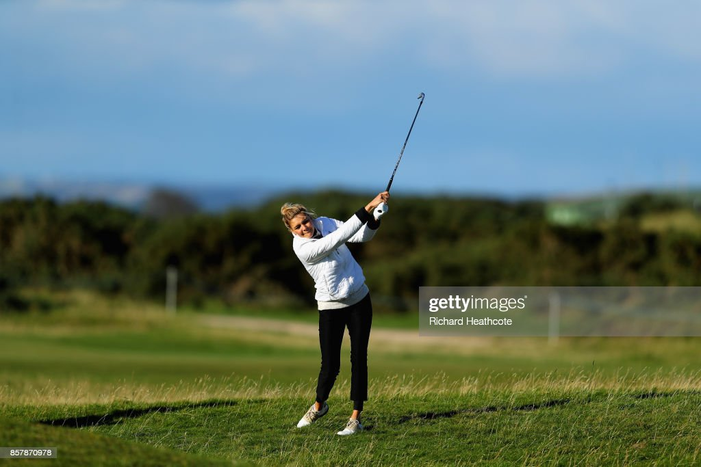 Kelly Rohrbach, Actress plays her second shot on the 17th during day one of the 2017 Alfred Dunhill Championship at The Old Course on October 5, 2017 in St Andrews, Scotland.