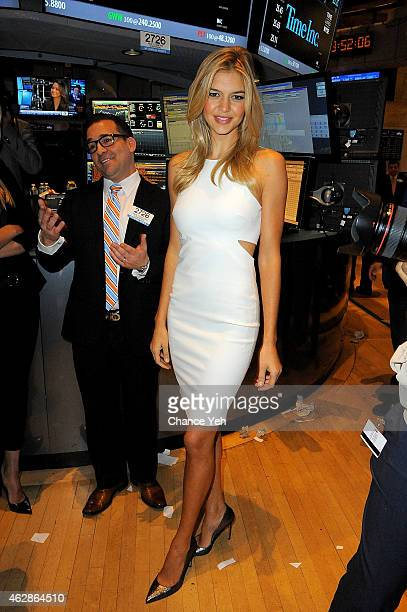 Kelly Rohrbach attends Sports Illustrated Swimsuit Models Ring The NYSE Closing Bell at New York Stock Exchange on February 6 2015 in New York City