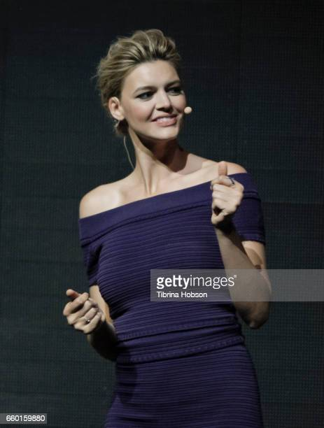 Kelly Rohrbach speaks at Paramount Pictures' presentation highlighting its 2017 summer and beyond during CinemaCon at The Colosseum at Caesars Palace...