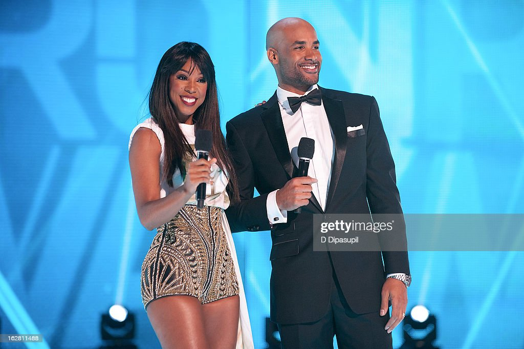 <a gi-track='captionPersonalityLinkClicked' href=/galleries/search?phrase=Kelly+Rowland&family=editorial&specificpeople=201760 ng-click='$event.stopPropagation()'>Kelly Rowland</a> (L) and <a gi-track='captionPersonalityLinkClicked' href=/galleries/search?phrase=Boris+Kodjoe&family=editorial&specificpeople=240156 ng-click='$event.stopPropagation()'>Boris Kodjoe</a> host BET's Rip The Runway 2013 at Hammerstein Ballroom on February 27, 2013 in New York City.