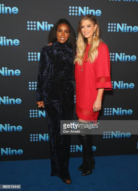 Kelly Rowland and Delta Goodrem pose during the Channel Nine Upfronts 2018 event on October 11 2017 in Sydney Australia