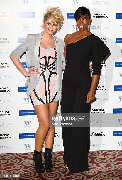 Kelly Rowland and Esmee Denters attend the foundation dinner for MTV Staying Alive at The Westbury Hotel on January 27 2011 in London England