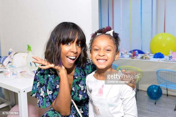 Kelly Rowland and guest attend Baby2Baby Mother's Day Party Presented By TinyPrints at Baby2Baby Headquarters on May 6 2017 in Los Angeles California