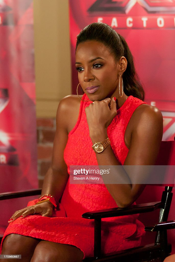 <a gi-track='captionPersonalityLinkClicked' href=/galleries/search?phrase=Kelly+Rowland&family=editorial&specificpeople=201760 ng-click='$event.stopPropagation()'>Kelly Rowland</a> attends the 'The X Factor' Judges press conference at Nassau Veterans Memorial Coliseum on June 20, 2013 in Uniondale, New York.