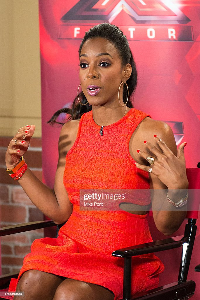 <a gi-track='captionPersonalityLinkClicked' href=/galleries/search?phrase=Kelly+Rowland&family=editorial&specificpeople=201760 ng-click='$event.stopPropagation()'>Kelly Rowland</a> attends 'The X Factor' Judges press conference at Nassau Veterans Memorial Coliseum on June 20, 2013 in Uniondale, New York.