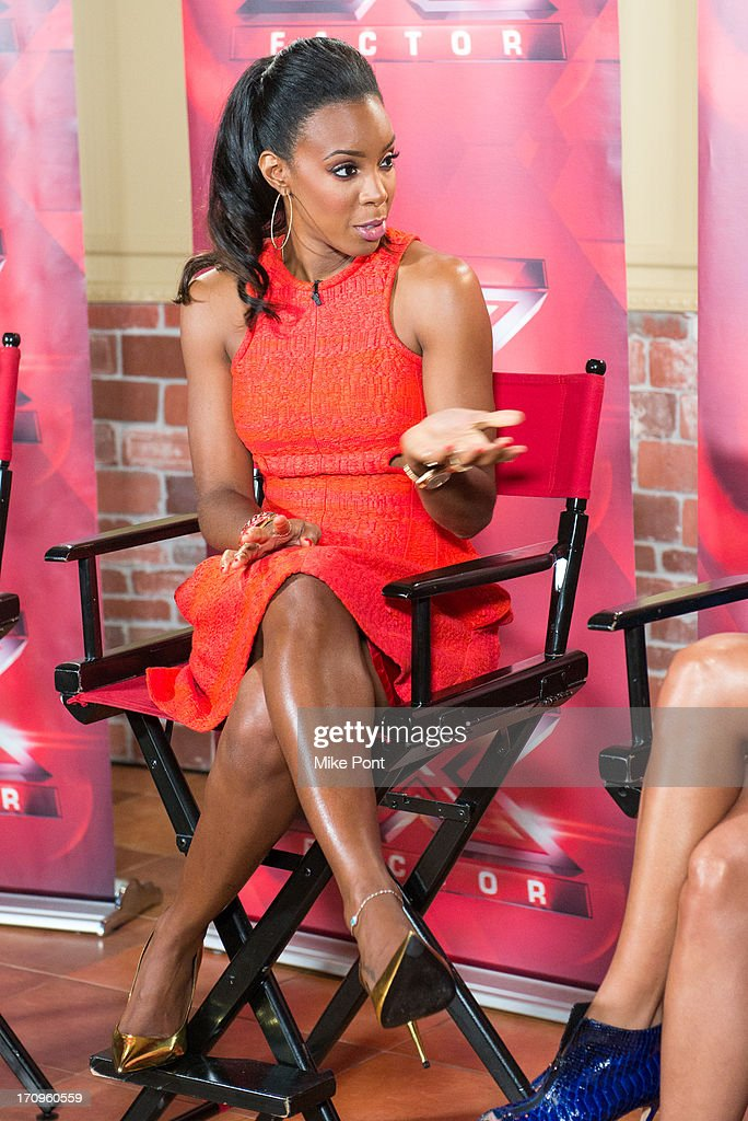 Kelly Rowland attends 'The X Factor' Judges press conference at Nassau Veterans Memorial Coliseum on June 20, 2013 in Uniondale, New York.