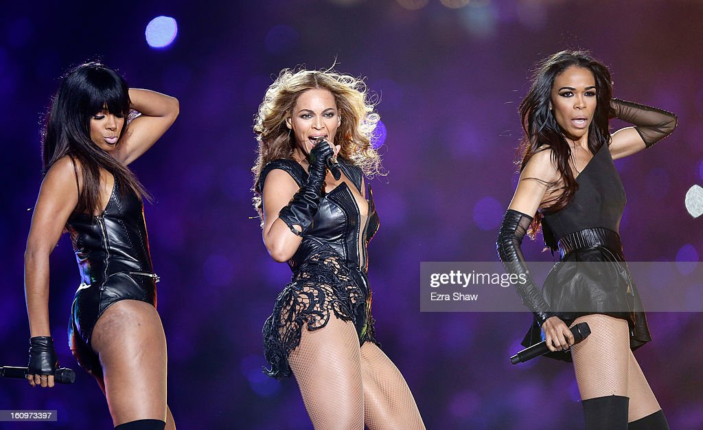 Kelly Rowland, Beyonce and Michelle Williams perform during the Pepsi Super Bowl XLVII Halftime Show at the Mercedes-Benz Superdome on February 3, 2013 in New Orleans, Louisiana.