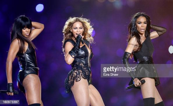 Kelly Rowland Beyonce and Michelle Williams perform during the Pepsi Super Bowl XLVII Halftime Show at the MercedesBenz Superdome on February 3 2013...