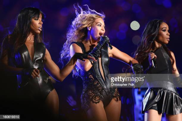 Kelly Rowland Beyonce Knowles and Michelle Williams of Destiny's Child perform during the Pepsi Super Bowl XLVII Halftime Show at MercedesBenz...