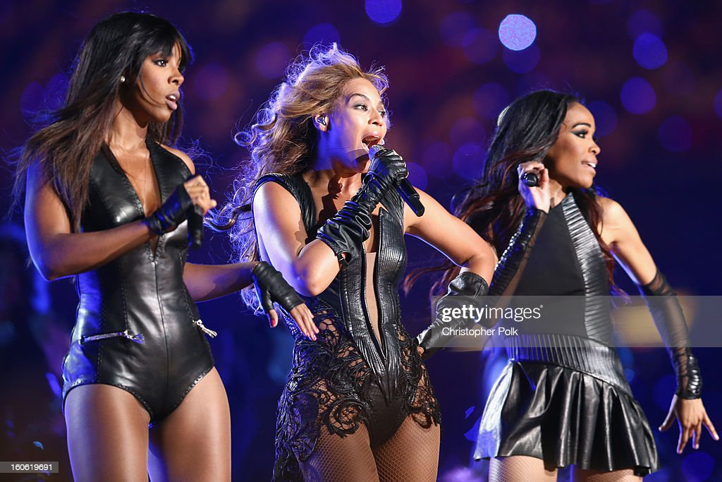 Kelly Rowland, Beyonce Knowles and Michelle Williams of Destiny's Child perform during the Pepsi Super Bowl XLVII Halftime Show at Mercedes-Benz Superdome on February 3, 2013 in New Orleans, Louisiana.