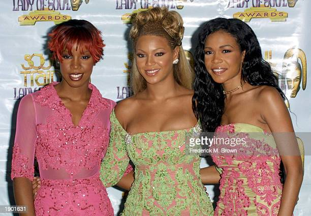 Kelly Rowland Beyonce Knowles and Michelle Williams of Destiny's Child attend the 7th Annual Soul Train Lady of Soul Awards August 28 2001 in Santa...