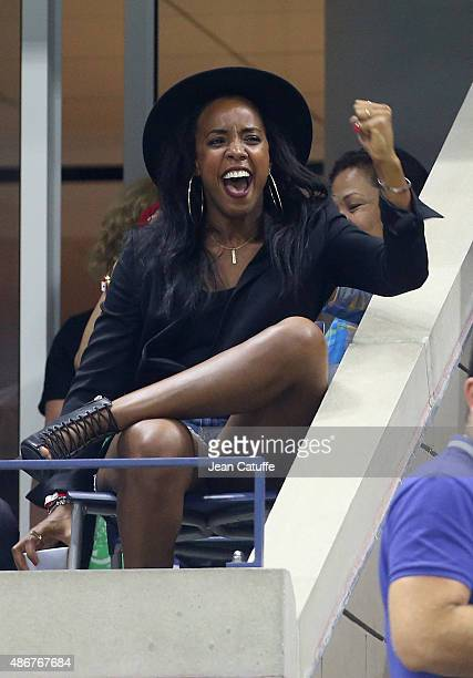 Kelly Rowland cheers for her friend Serena Williams during her match on day five of the 2015 US Open at USTA Billie Jean King National Tennis Center...