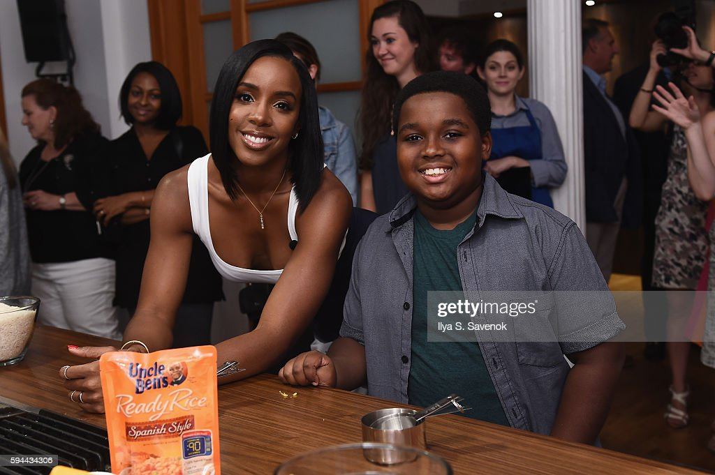 Kelly Rowland cooks with 2014 Ben's Beginners Winner during Ben's Beginners Cooking Contest Launch Event Back to the Future Of Cooking at Home...