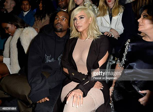 Kelly Rowland Kanye West Kim Kardashian and Kris Jenner attend the Lanvin show as part of the Paris Fashion Week Womenswear Fall/Winter 2015/2016 on...