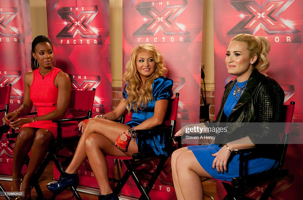 Kelly Rowland, Paulina Rubio and Demi Lovato attend the 'The X Factor' Judges press conference at Nassau Veterans Memorial Coliseum on June 20, 2013 in Uniondale, New York.