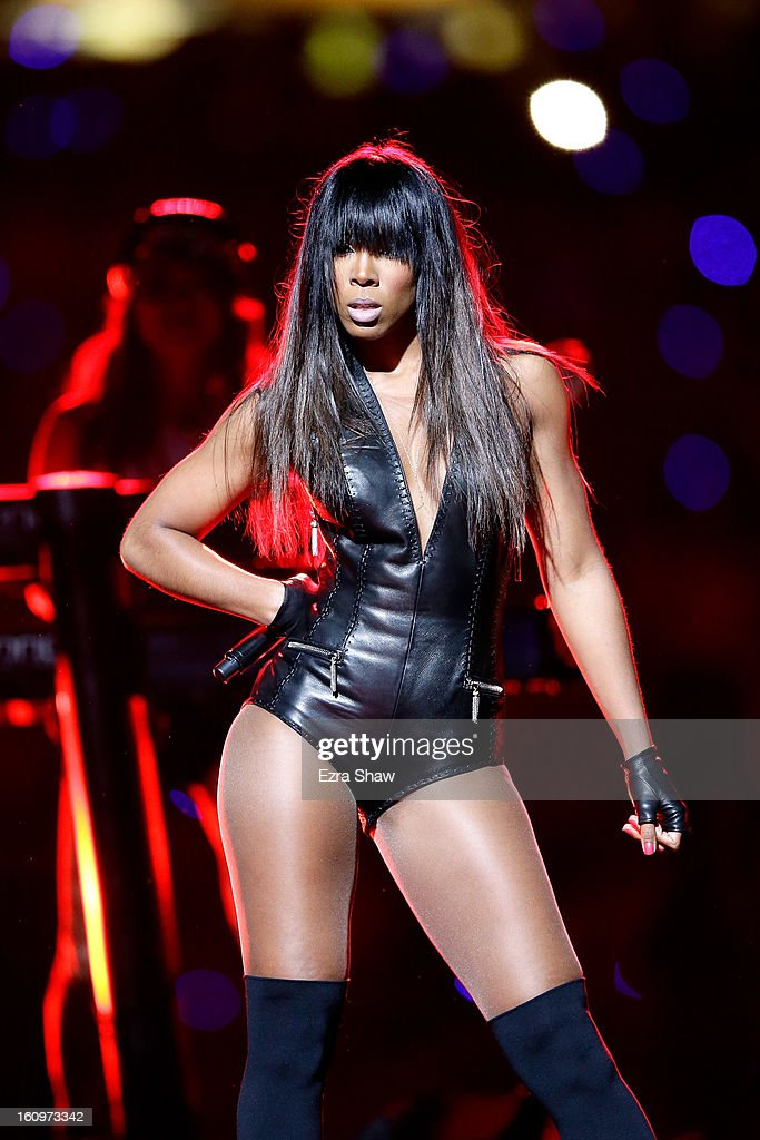 Kelly Rowland performs during the Pepsi Super Bowl XLVII Halftime Show at the Mercedes-Benz Superdome on February 3, 2013 in New Orleans, Louisiana.
