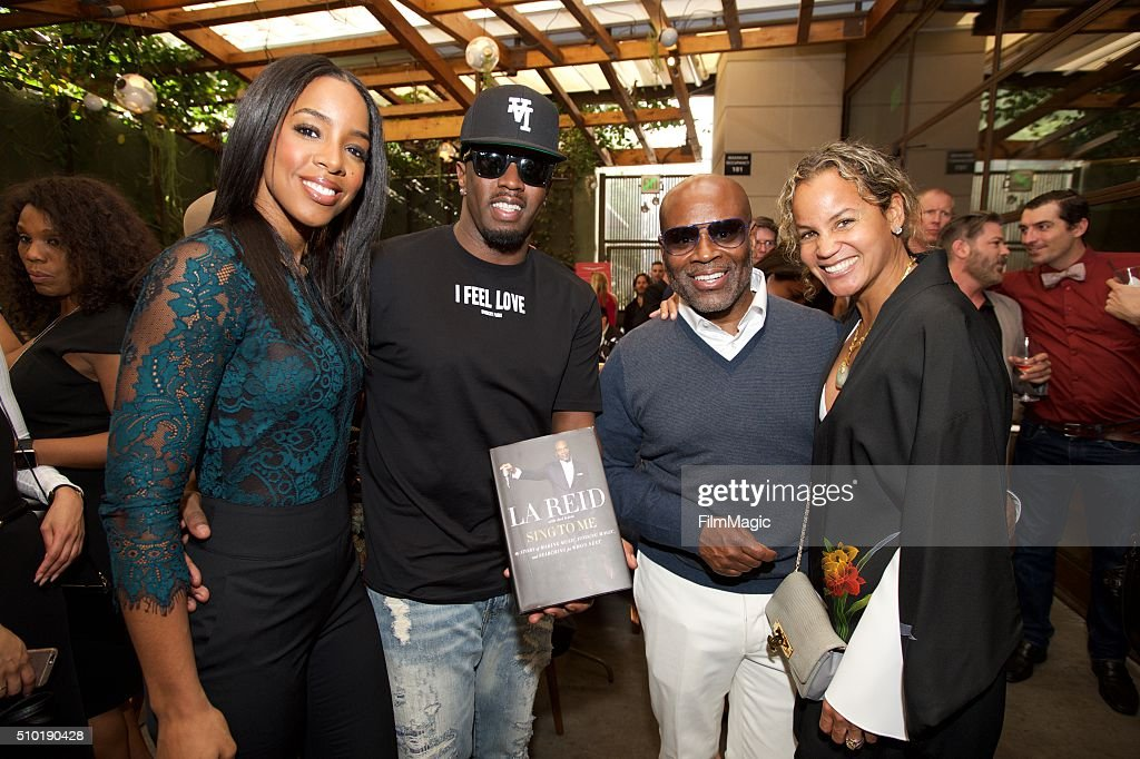 Kelly Rowland, Sean Combs, LA Reid and Erica Reid pose for a photo at the LA Reid 'Sing To Me' Pre-Grammy Brunch at Hinoki & The Bird on February 13, 2016 in Los Angeles, California.