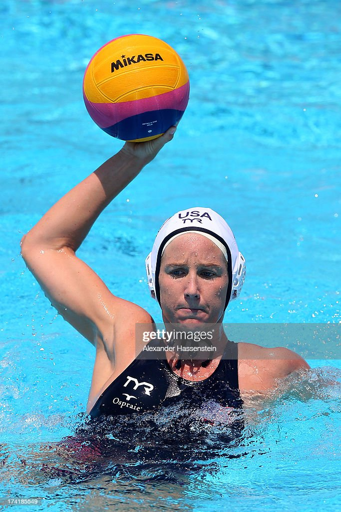Kelly Rulon #10 of the USA looks to make a pass during the Women's Water Polo first preliminary round match between USA and Greece during Day Two of the 15th FINA World Championships at Piscines Bernat Picornell on July 21, 2013 in Barcelona, Spain.