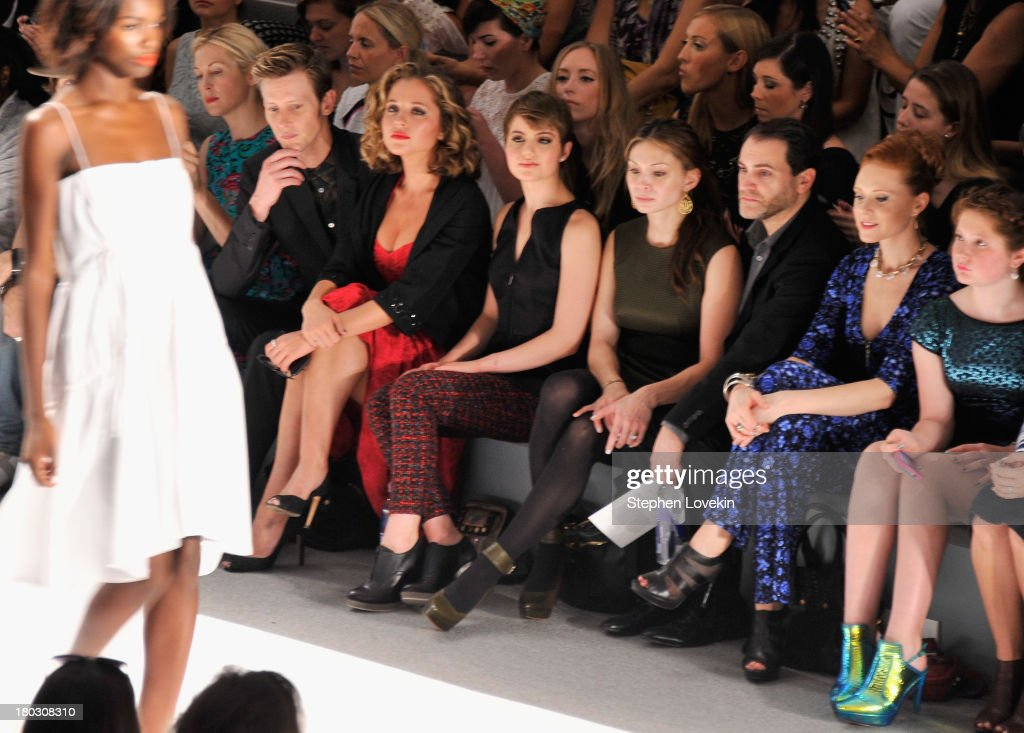 Kelly Rutherford, Gabriel Mann, Margarita Levieva, Sami Gayle, Mai-Linh Lofgren, Michael Stuhlbarg, Christiane Seidel and Emma Kenney attend the Nanette Lepore fashion show during Mercedes-Benz Fashion Week Spring 2014 at The Stage at Lincoln Center on September 11, 2013 in New York City.