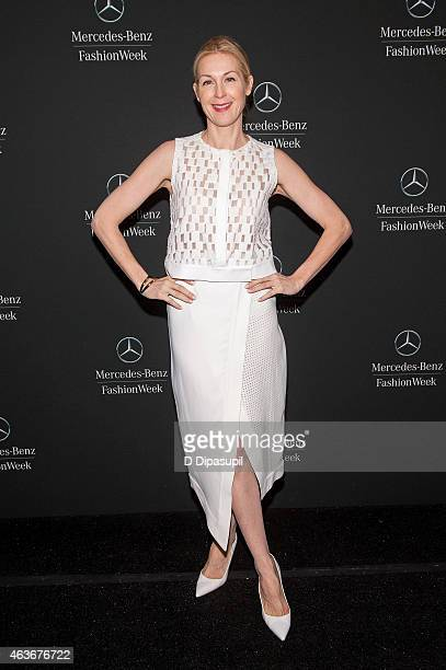 Kelly Rutherford is seen during MercedesBenz Fashion Week Fall 2015 at Lincoln Center for the Performing Arts on February 17 2015 in New York City