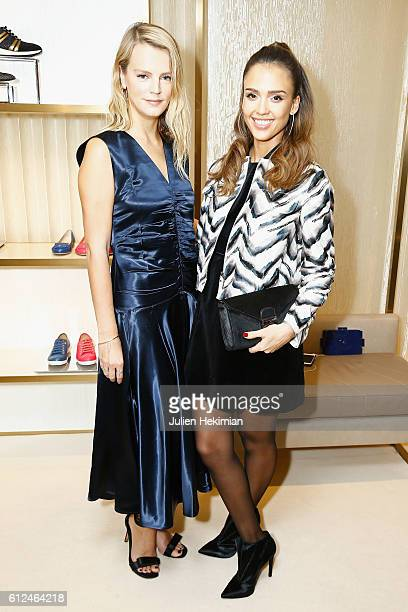 Kelly Sawyer and Jessica Alba attend the Lonchamp Cocktail as part of the Paris Fashion Week Womenswear Spring/Summer 2017 at Longchamp Boutique St...