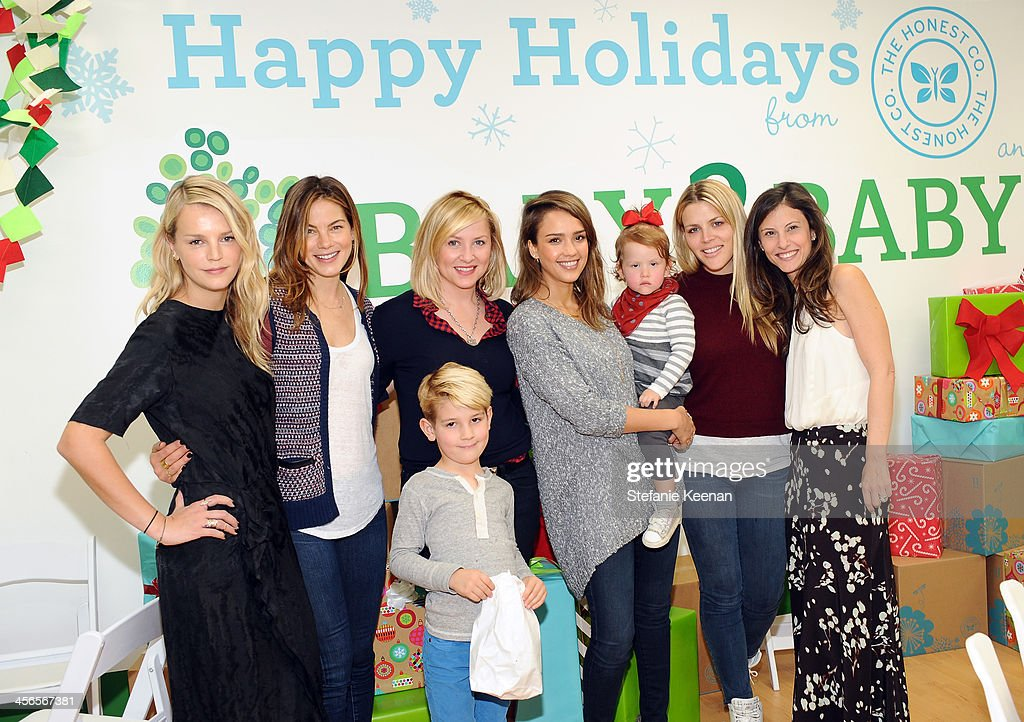 Kelly Sawyer, Michelle Monaghan, Jessica Capshaw, Luke (front), Jessica Alba and daughter Haven Garner, Busy Philipps and Norah Weinstein attend the Third Annual Baby2Baby Holiday Party presented by The Honest Company on December 14, 2013 in Los Angeles, California.