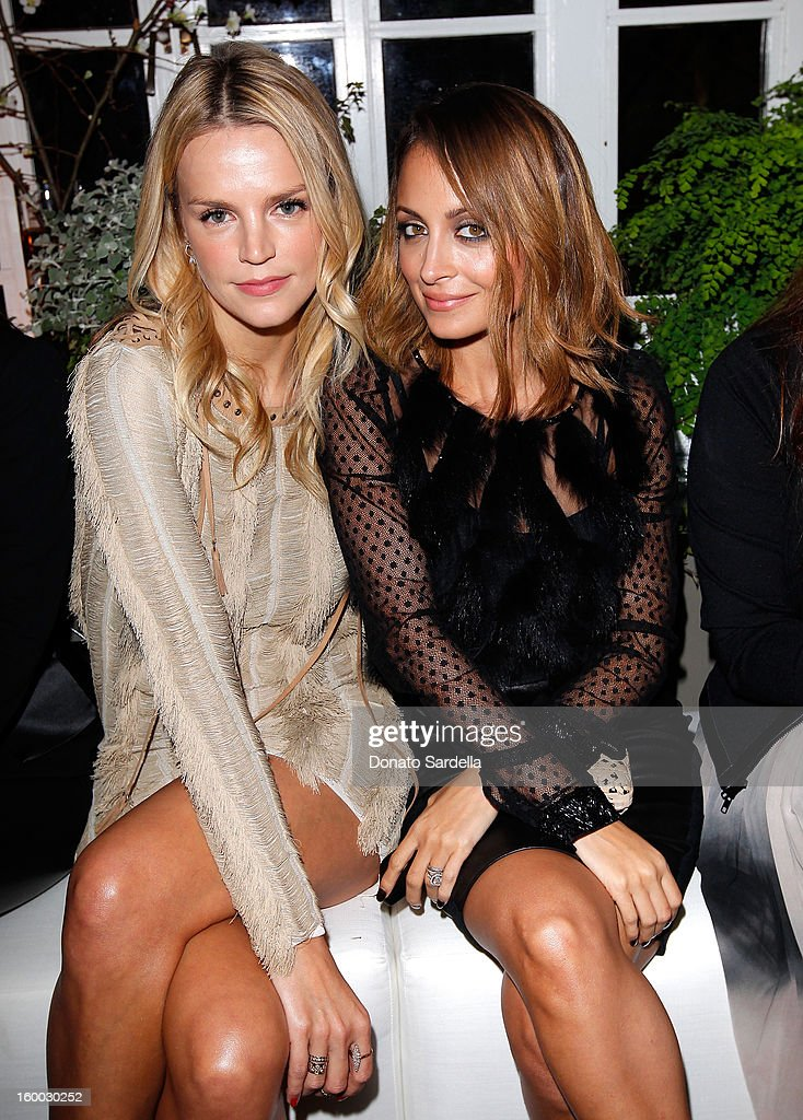 Kelly Sawyer Patricof (L) and <a gi-track='captionPersonalityLinkClicked' href=/galleries/search?phrase=Nicole+Richie&family=editorial&specificpeople=201646 ng-click='$event.stopPropagation()'>Nicole Richie</a> attend the Ferragamo presentation Spring Summer Runway Collection with VIP dinner, hosted by Jacqui Getty and Harpers BAZAAR at Chateau Marmont on January 24, 2013 in Los Angeles, California.