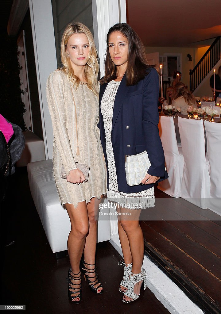 Kelly Sawyer Patricof (L) and Shiva Rose attend the Ferragamo presentation Spring Summer Runway Collection with VIP dinner, hosted by Jacqui Getty and Harpers BAZAAR at Chateau Marmont on January 24, 2013 in Los Angeles, California.