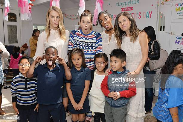 Kelly Sawyer Patricof Jessica Biel Kelly Rowland Norah Weinstein and children attend Tiny Prints Presents The Baby2Baby Mother's Day Party at AU...