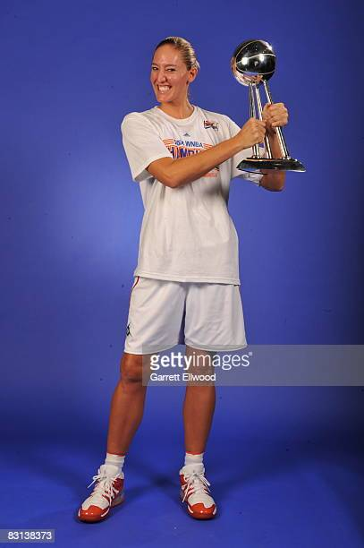 Kelly Schumacher of the Detroit Shock poses for a portrait after winning Game Three of the WNBA Finals against the San Antonio Silver Star on October...