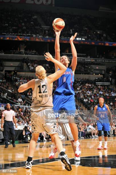 Kelly Schumacher of the Detroit Shock shoots against Ann Wauters of the San Antonio Silver Stars in Game Two of the WNBA Finals on October 3 2008 at...