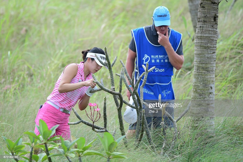 Kelly Shon of the United States plays a shot on the 18th hole during the second round of the Blue Bay LPGA at Jian Lake Blue Bay golf course on November 9, 2017 in Hainan Island, China.