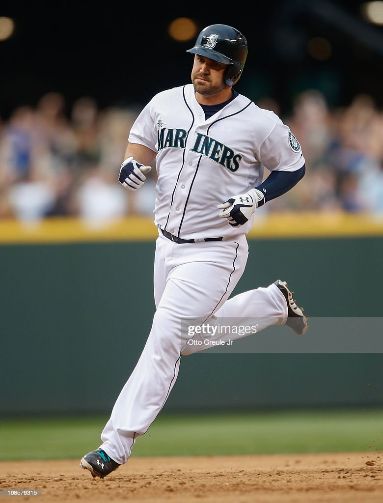 <a gi-track='captionPersonalityLinkClicked' href=/galleries/search?phrase=Kelly+Shoppach&family=editorial&specificpeople=194967 ng-click='$event.stopPropagation()'>Kelly Shoppach</a> #7 of the Seattle Mariners rounds the bases after hitting a home two-run homer in the fifth inning against the Oakland Athletics at Safeco Field on May 11, 2013 in Seattle, Washington. The homer broke up a no-hitter.