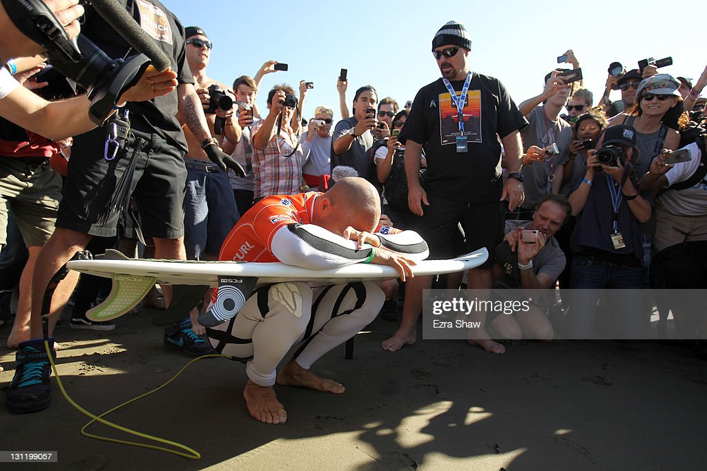 Kelly Slater is surrounded by fans before entering the water for heat 6 of round three of the Rip Curl Pro Search on November 2 2011 in San Francisco...