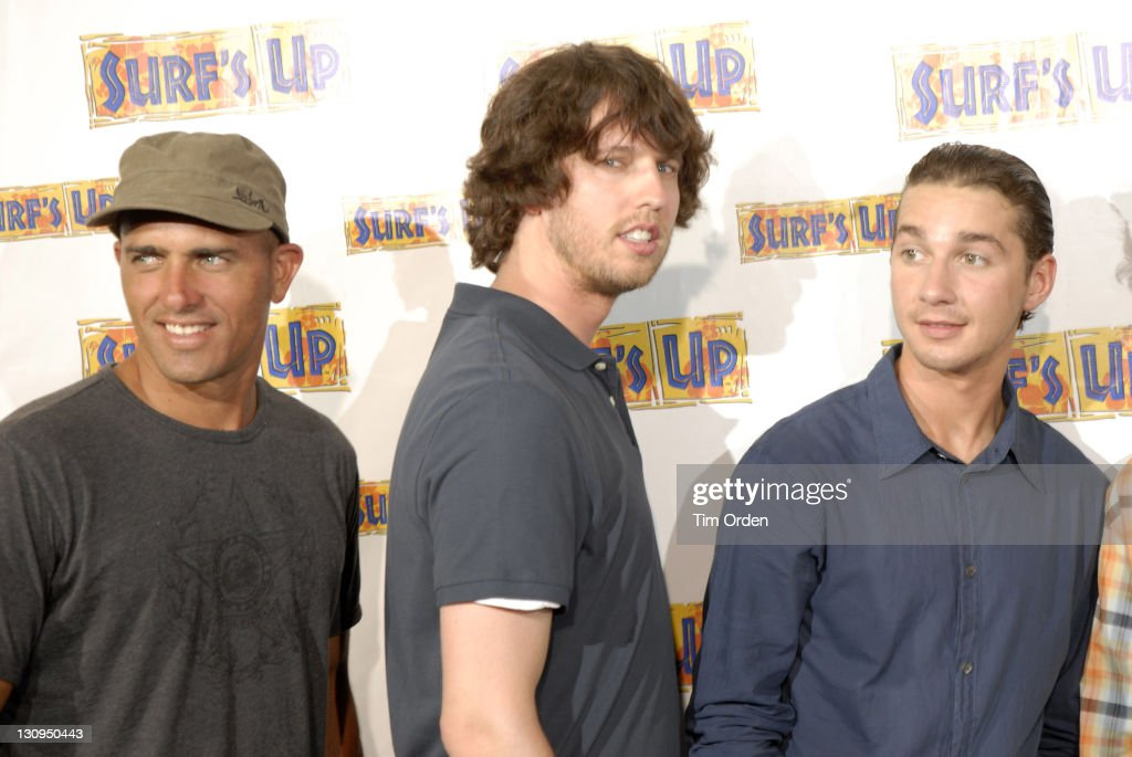 Kelly Slater Jon Heder and Shia LaBeouf during 'Surf's Up' Oahu Premiere Arrivals at Victoria Ward Theater in Oahu Hawaii United States