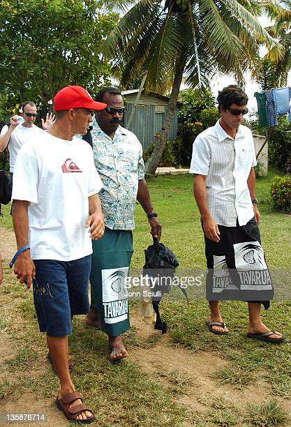 Kelly Slater Jon Roseman with village elder during Kelly Slater Invitational Fiji Day 2 Mome Village Tour in Mome Village Tavarua Island Fiji