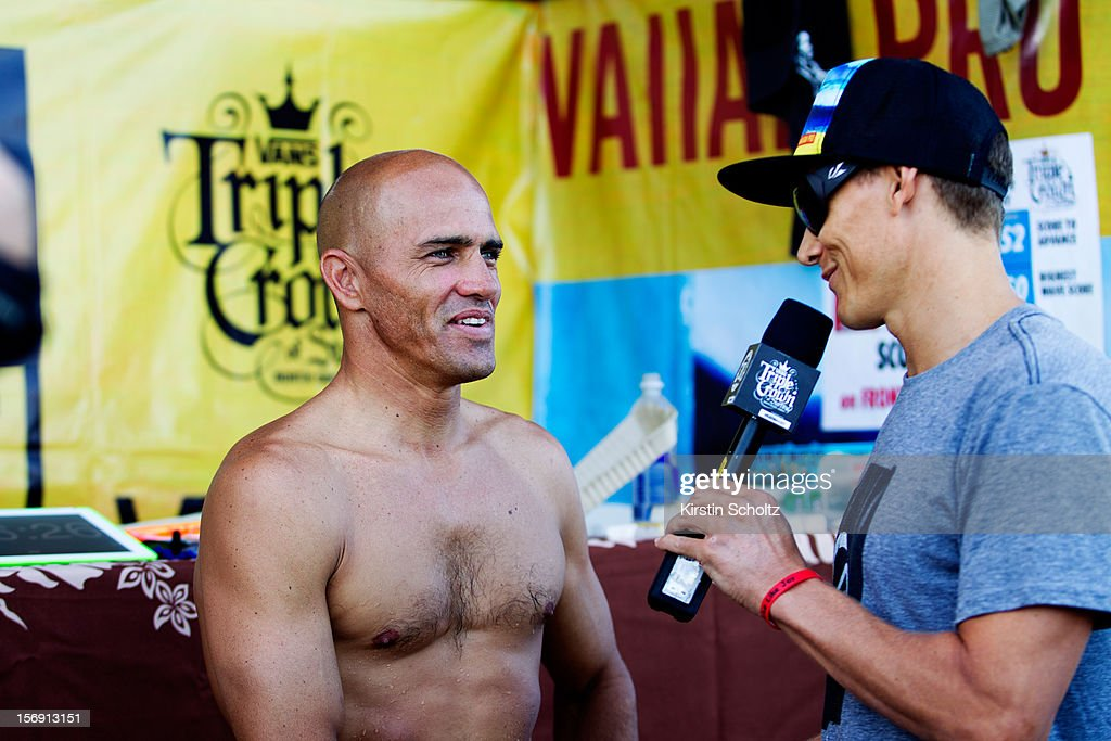 Kelly Slater of the United States of America during a post heat interview on November 24, 2012 in Haleiwa, Hawaii.