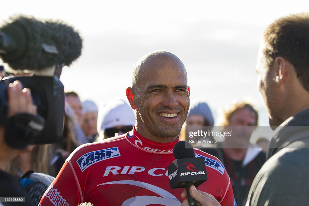 Kelly Slater of the United States of America smiles during a post heat interview despite losing in round three at the Rip Curl Pro on April 1, 2013 in Bells Beach, Australia.