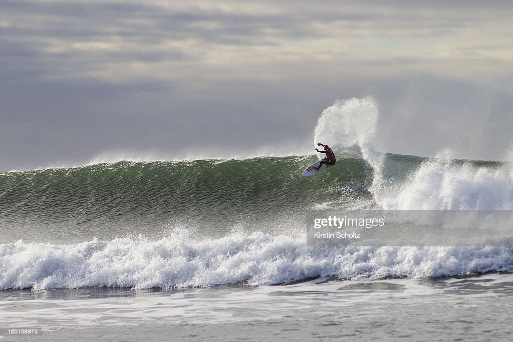 Kelly Slater of the United States of America surfs during round three of the Rip Curl Pro on April 1, 2013 in Bells Beach, Australia.