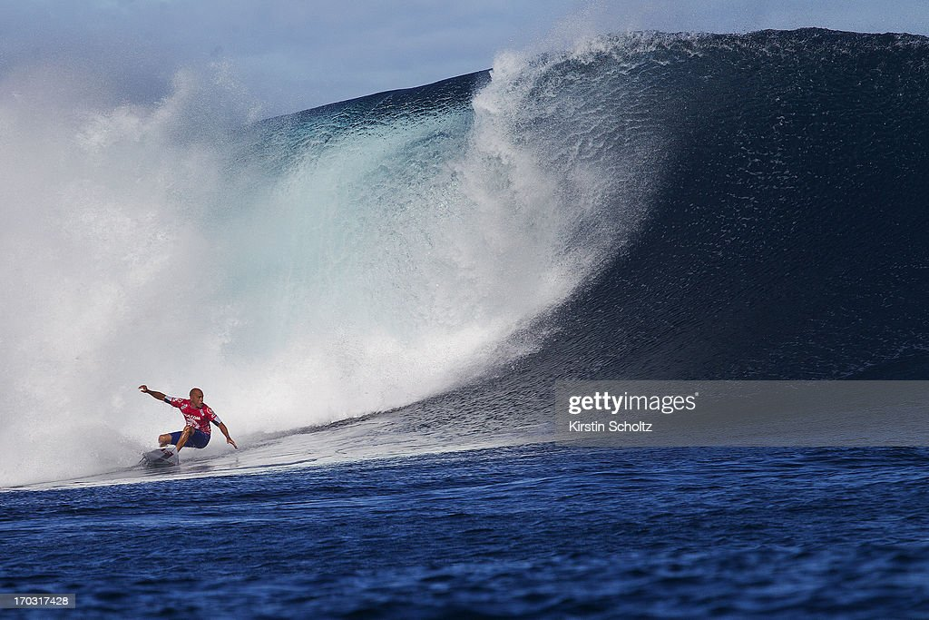 <a gi-track='captionPersonalityLinkClicked' href=/galleries/search?phrase=Kelly+Slater&family=editorial&specificpeople=207101 ng-click='$event.stopPropagation()'>Kelly Slater</a> of the United States of America surfs to victory during round three on June 11, 2013 in Tavarua, Fiji.