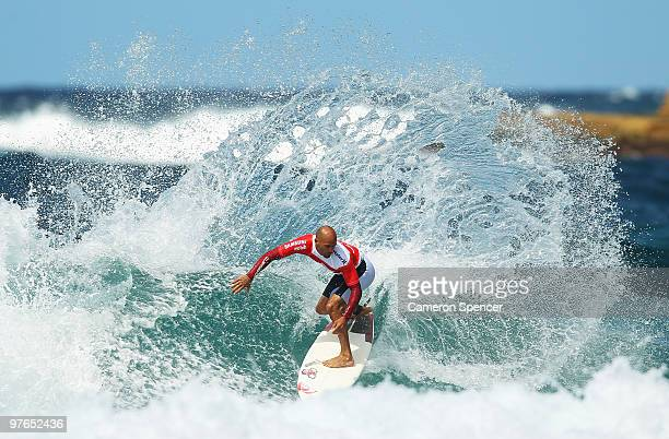 Kelly Slater of the United States performs a cutback during an aerial expression session on day one of Surfsho at Bondi Beach on March 12 2010 in...