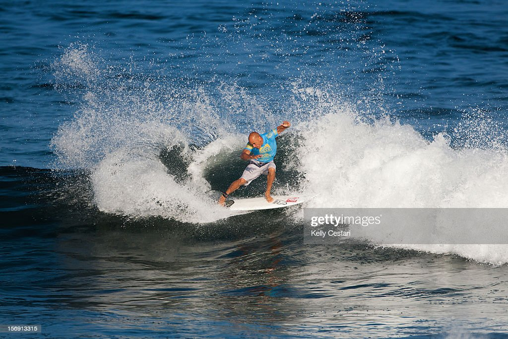 Kelly Slater of the United States placed equal 17th in the REEF Hawaiian Pro at Ali'i Beach Park on November 24, 2012 in Haleiwa, Hawaii.