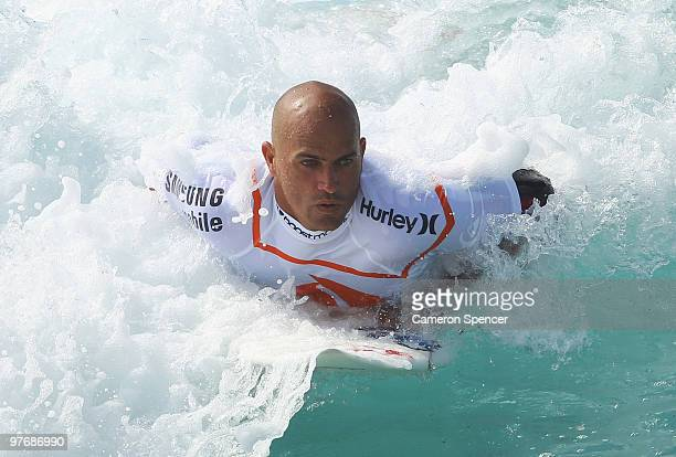 Kelly Slater of the United States rides a wave into shore during the Boost Bondi Beach SurfSho at Bondi Beach on March 14 2010 in Sydney Australia