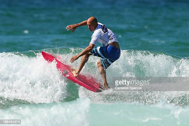Kelly Slater of the United States surfs during the Surf ProAm at Manly Beach on April 13 2013 in Sydney Australia The ProAm was organised by Waratahs...