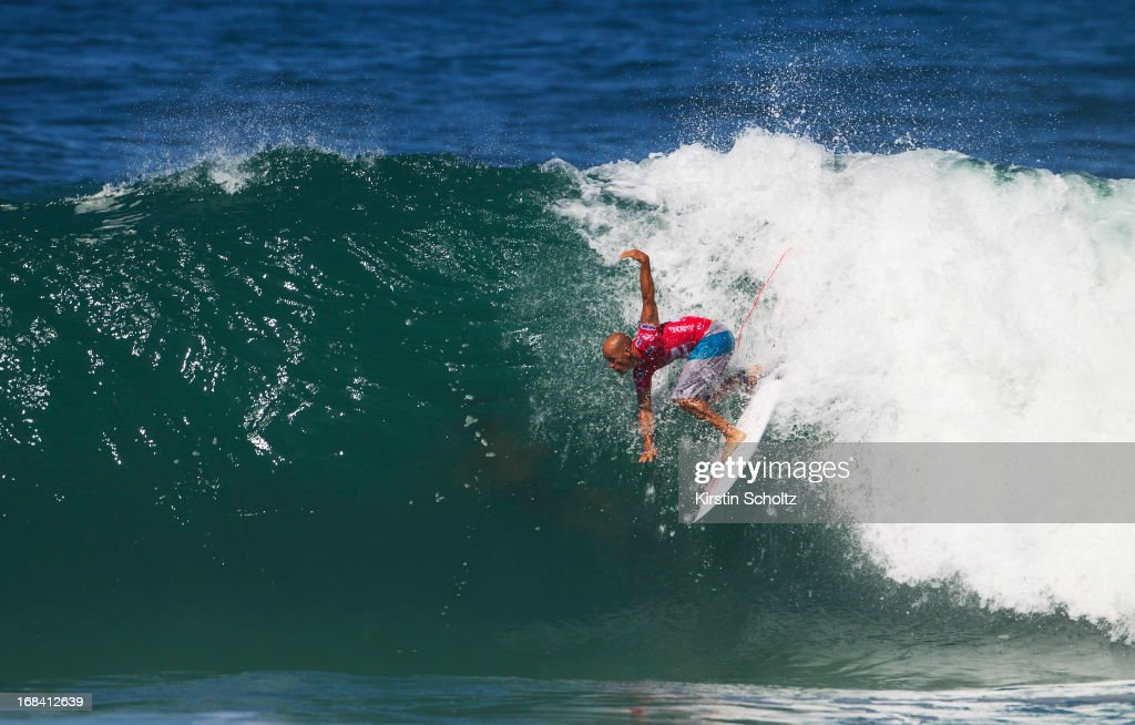 <a gi-track='captionPersonalityLinkClicked' href=/galleries/search?phrase=Kelly+Slater&family=editorial&specificpeople=207101 ng-click='$event.stopPropagation()'>Kelly Slater</a> of the U.S. surfs during Round 1 during the Billabong Rio Pro 2013 May 9, 2013 in Rio de Janeiro, Brazil.