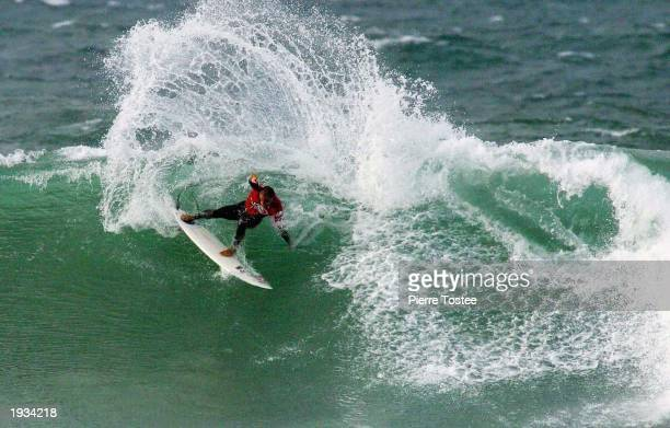 Kelly Slater of the USA in action on April 16 2003 during the Rip Curl Pro at Bells Beach Australia Slater lost the first round to Luke Hitchings of...