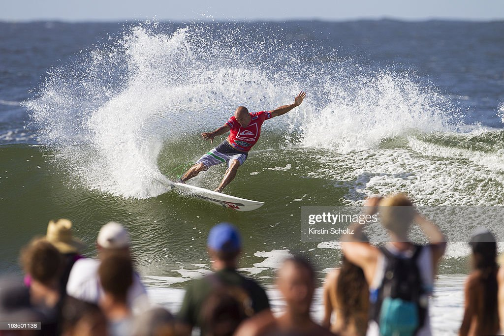 <a gi-track='captionPersonalityLinkClicked' href=/galleries/search?phrase=Kelly+Slater&family=editorial&specificpeople=207101 ng-click='$event.stopPropagation()'>Kelly Slater</a> of the USA surfs during round four of the Quiksilver Pro on March 11, 2013 in Gold Coast, Australia.