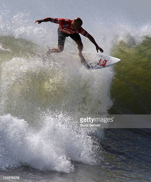 Kelly Slater of the USA surfs the waves in the championship round at the Quiksilver Pro New York tournament on September 9 2011 in Long Beach New York
